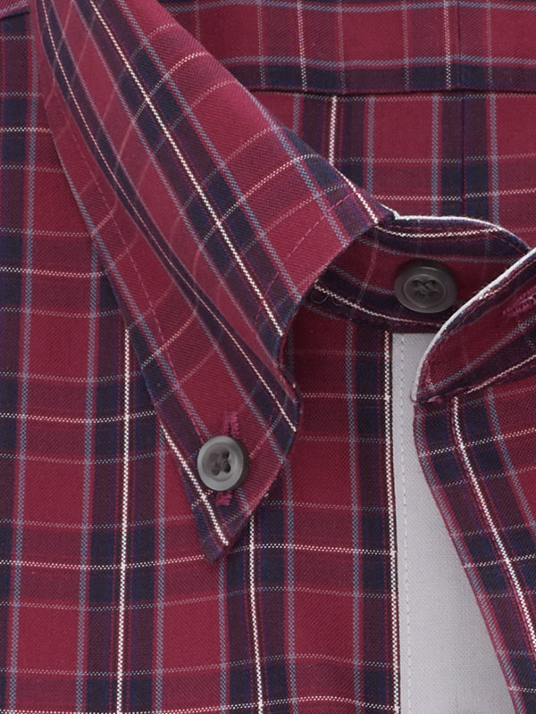 Slim Fit Non-Iron Cotton Pinpoint Tartan Dress Shirt with Contrast Trim