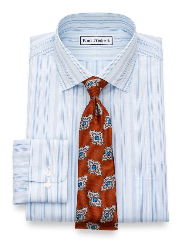 Slim Fit Non-Iron Cotton Broadcloth Stripe Dress Shirt
