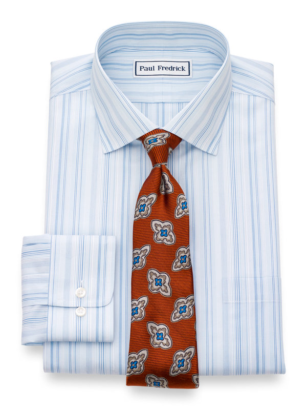 Tailored Fit Non-Iron Cotton Broadcloth Stripe Dress Shirt