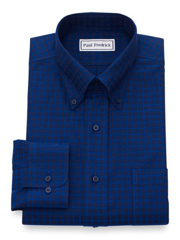 Slim Fit Non-Iron Cotton Satin Check Dress Shirt