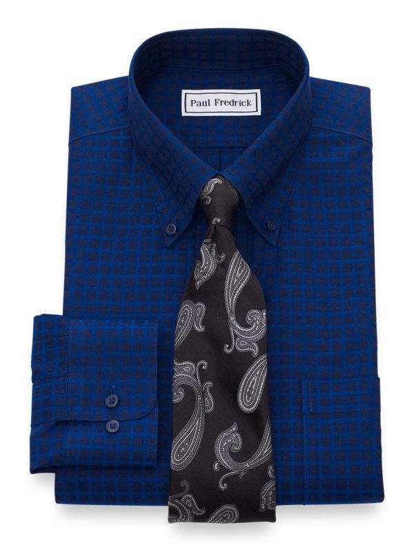 Tailored Fit Non-Iron Cotton Satin Check Dress Shirt