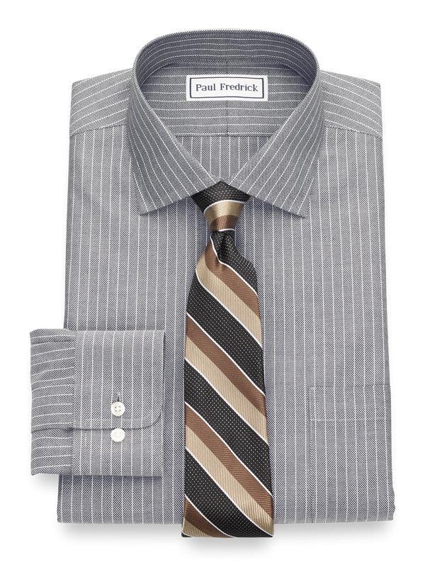 Tailored Fit Non-Iron Textured Stripe Dress Shirt