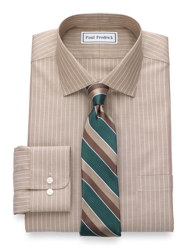 Slim Fit Non-Iron Cotton Textured Stripe Dress Shirt