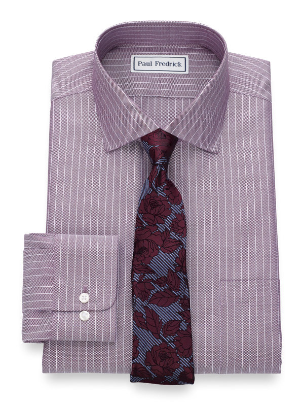 Slim Fit Non-Iron Cotton Textured Stripe Dress Shirt