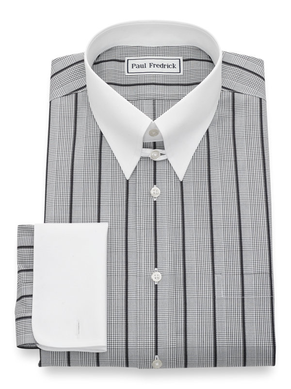 Slim Fit Non-Iron Cotton Glen Plaid Dress Shirt