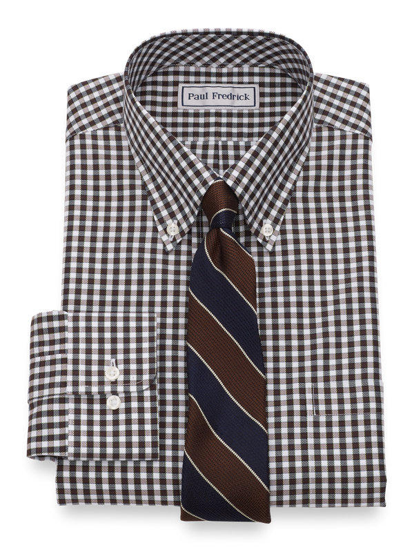 Impeccable Non-Iron Cotton Royal Oxford Gingham Dress Shirt
