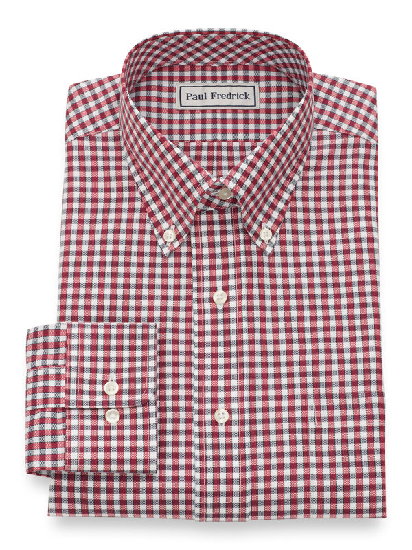 Impeccable Non-Iron Cotton Royal Oxford Gingham Dress Shirt