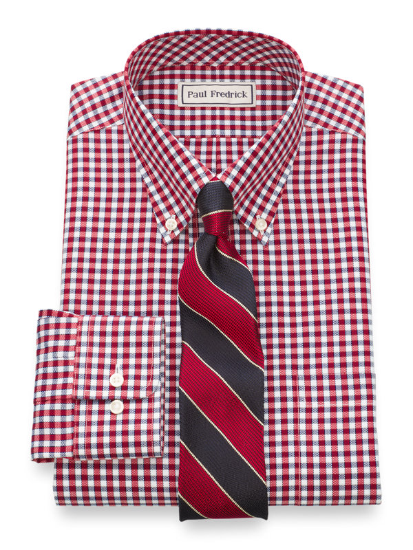 Tailored Fit Impeccable Non-Iron Cotton Royal Oxford Gingham Dress Shirt