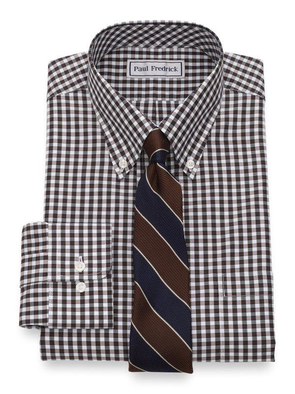 Slim Fit Impeccable Non-Iron Cotton Royal Oxford Gingham Dress Shirt