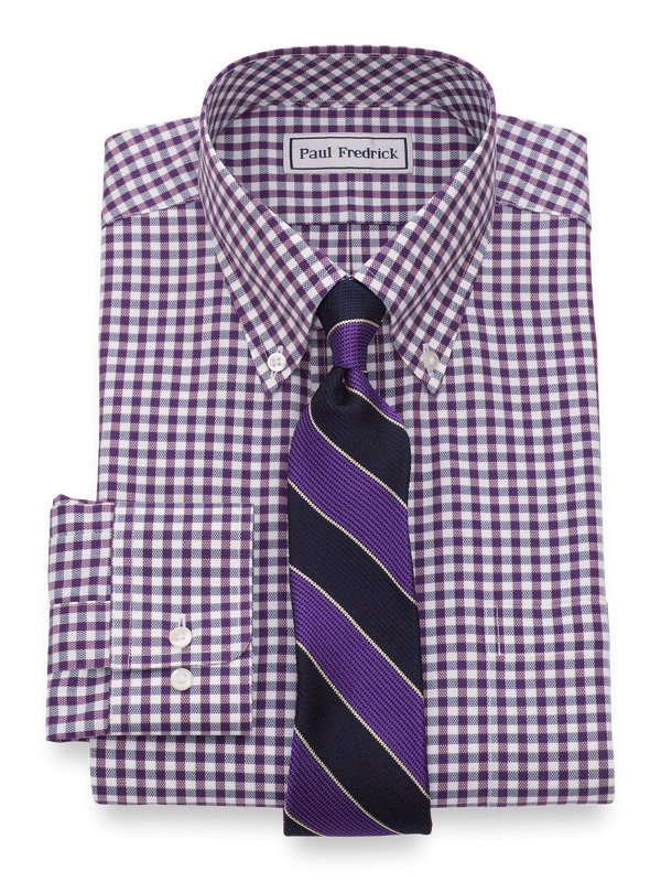 Slim Fit Impeccable Non-Iron Cotton Royal Oxford Gingham Dress Shirt