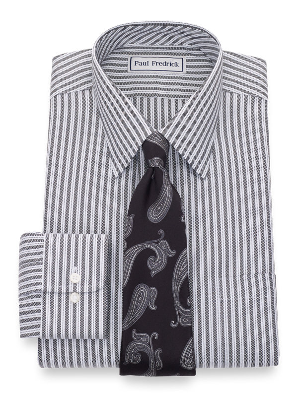 Impeccable Non-Iron Cotton Royal Oxford Stripe Dress Shirt