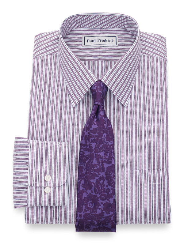 Tailored Fit Impeccable Non-Iron Cotton Royal Oxford Stripe Dress Shirt