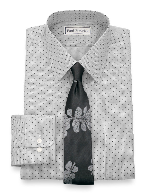 Tailored Fit Impeccable Non-Iron Broadcloth Mini-Check Dress Shirt