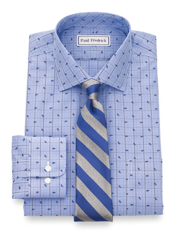 Tailored Fit Impeccable Non-Iron Broadcloth Glen Plaid Dress Shirt