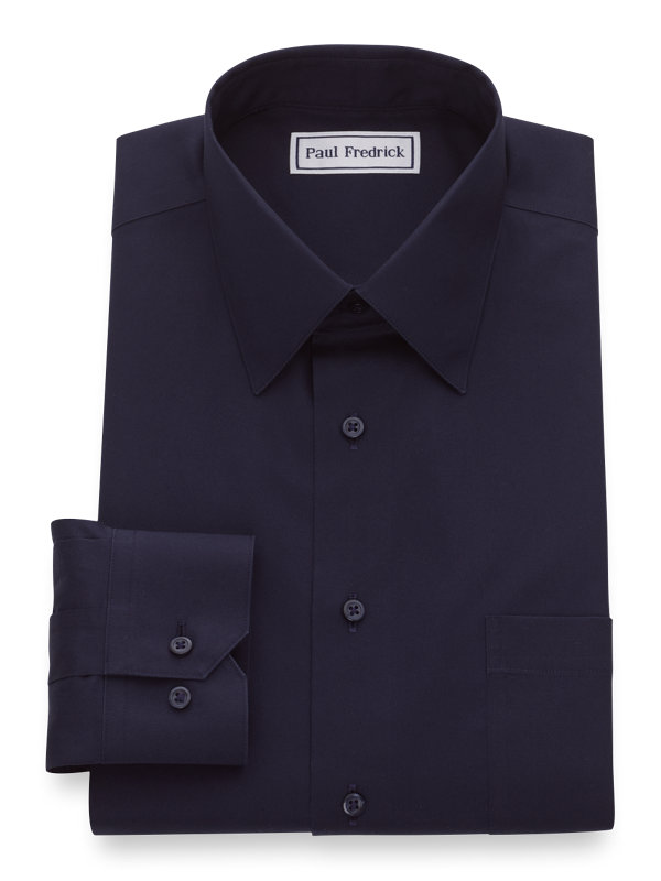 Slim Fit Non-Iron Cotton Pinpoint Solid Dress Shirt