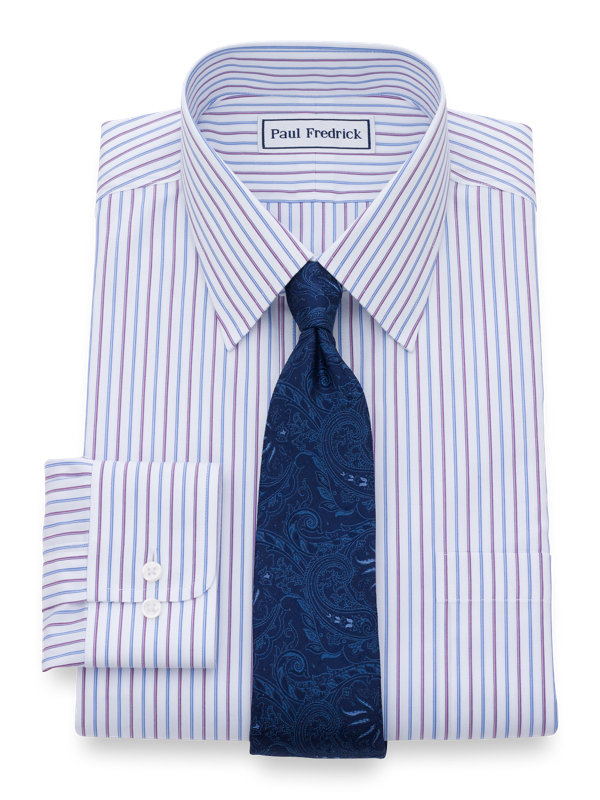 Tailored Fit Non-Iron Cotton Alternating Stripes Dress Shirt