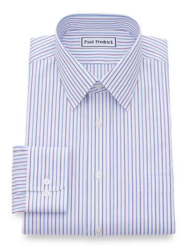 Tailored Fit Non-Iron Cotton Alternating Stripes Dress Shirt