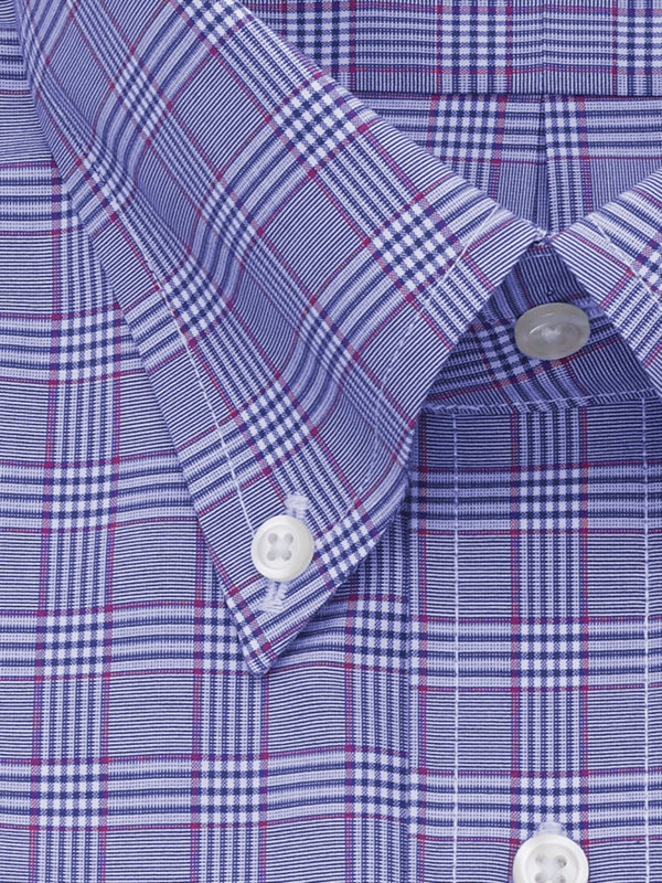 Tailored Fit Non-Iron Cotton Broadcloth Plaid Dress Shirt