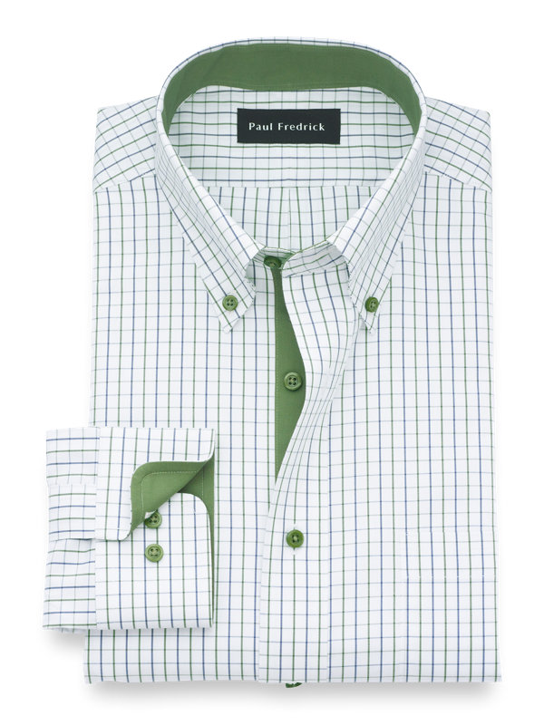 Non-Iron Cotton Check Dress Shirt with Contrast Trim