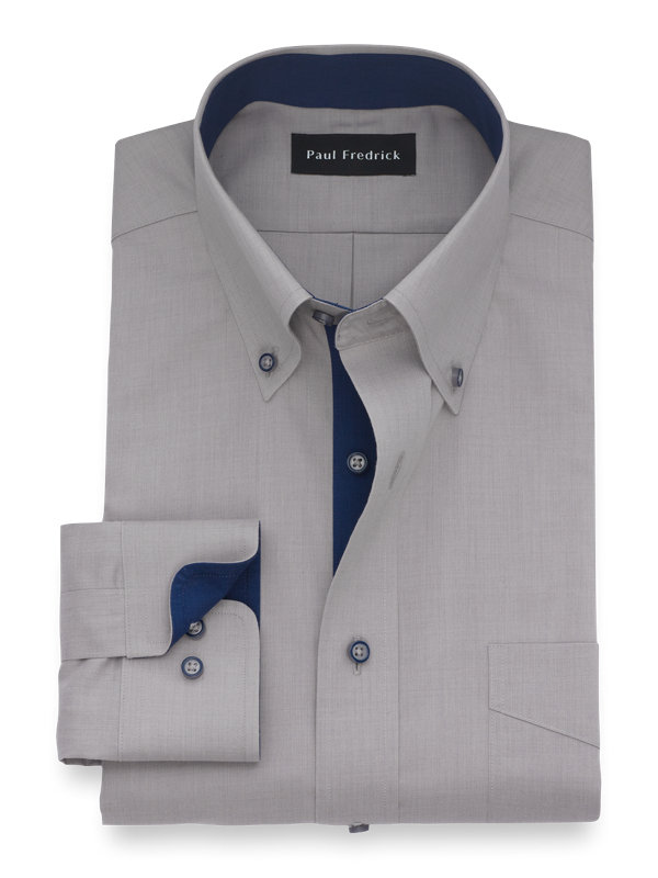 Tailored Fit Luxury Cotton and Merino Wool Solid Dress Shirt with Contrast Trim