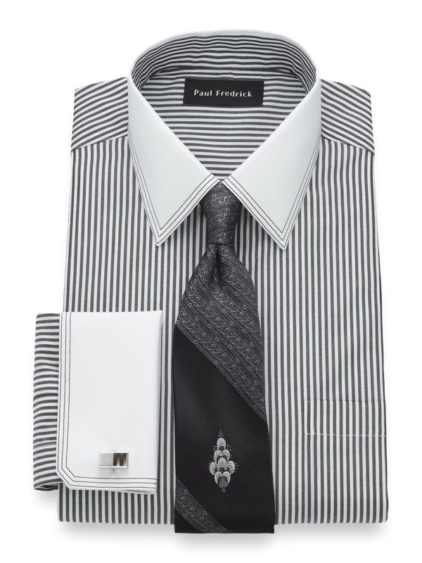 Tailored Fit Non-Iron Cotton Stripe Dress Shirt