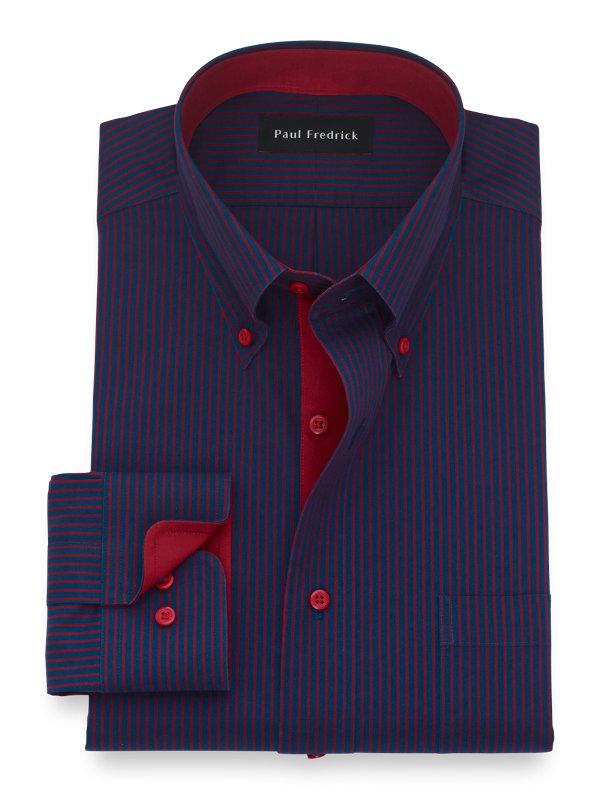 Slim Fit Non Iron Cotton Stripe Dress Shirt with Contrast Trim