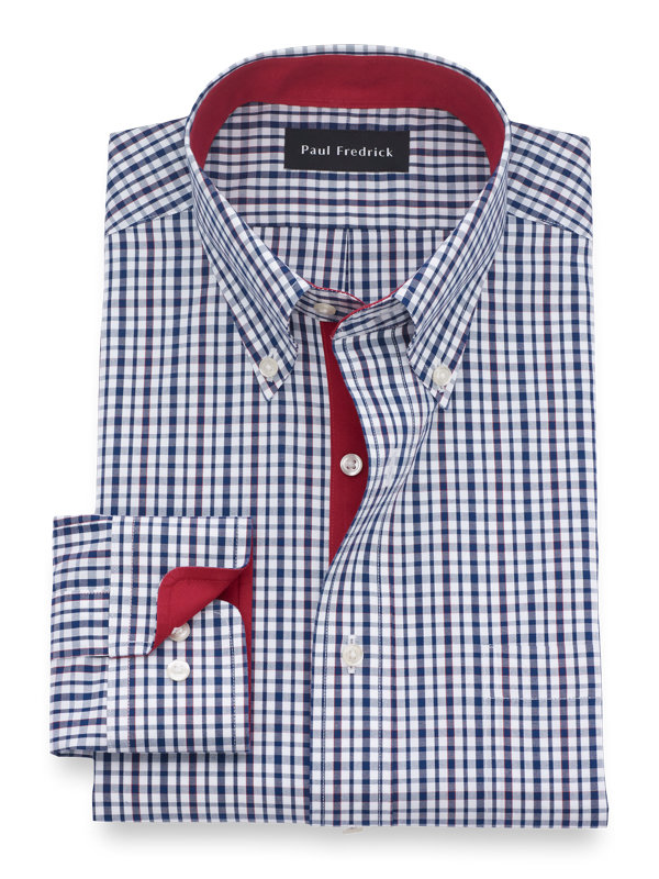Slim Fit Non-Iron Cotton Tatersall Dress Shirt with Contrast Trim
