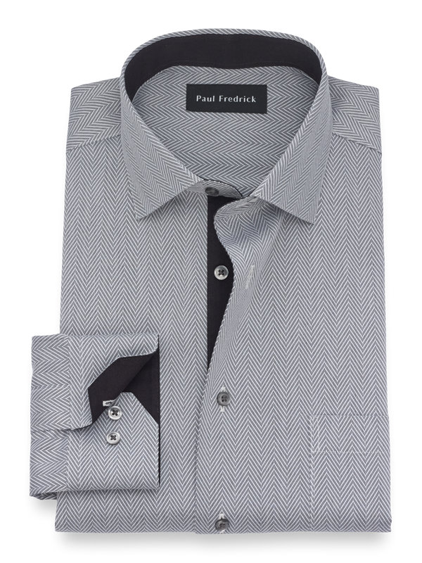 Non-Iron Cotton Herringbone Dress Shirt with Contrast Trim