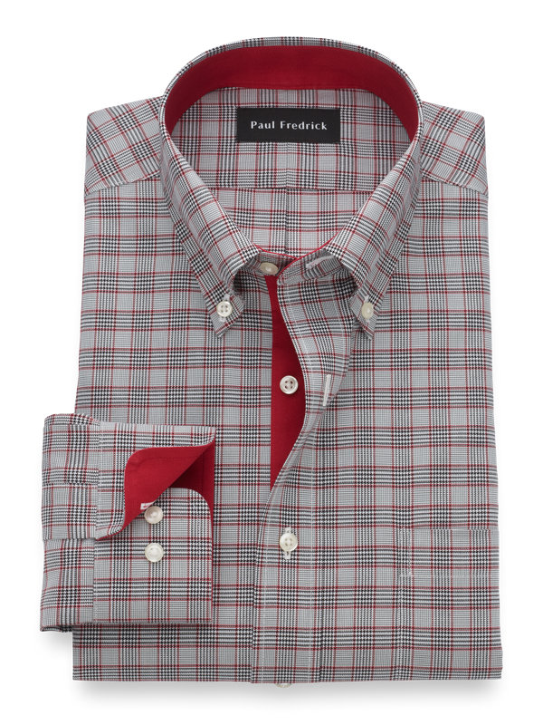 Slim Fit Non-Iron Cotton Glen Plaid Dress Shirt with Contrast Trim