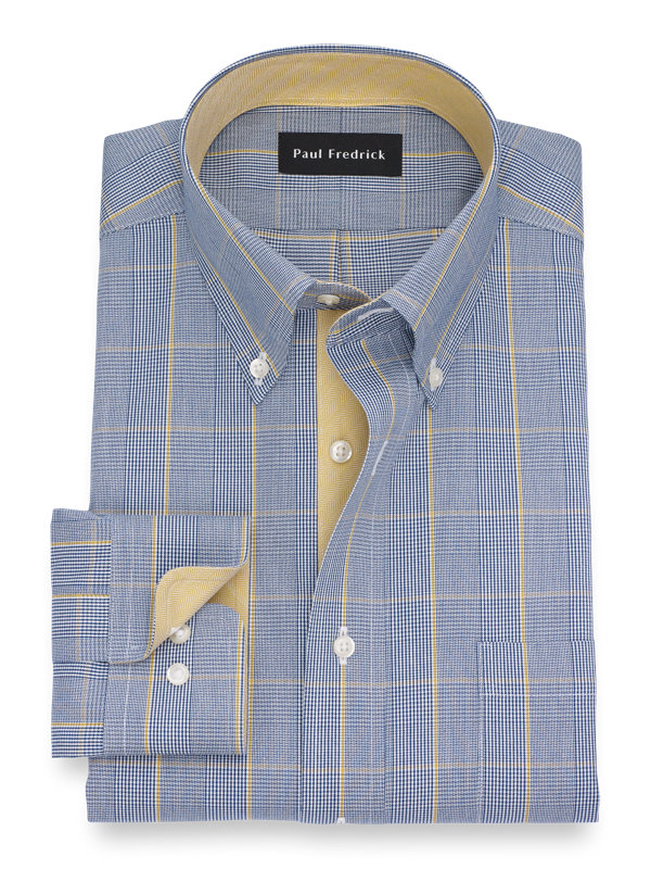 Slim Fit Non-Iron Cotton Glen Plaid Dress Shirt with Contrast Trim