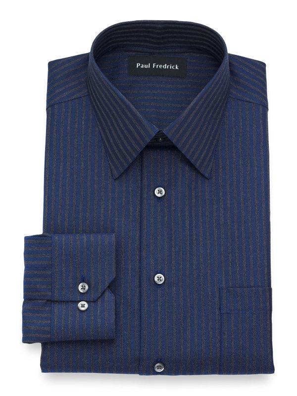 Tailored Fit Non-Iron Cotton Stripe Dress Shirt