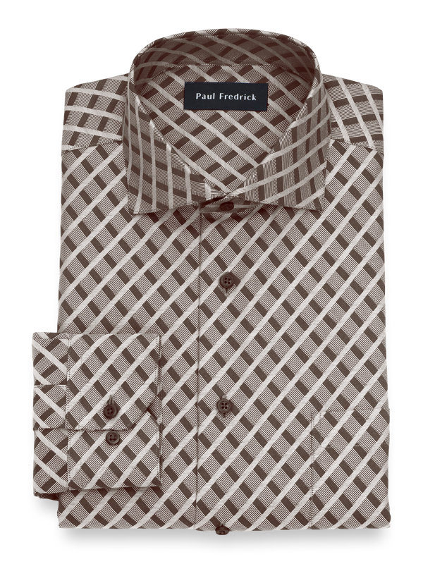 Tailored Fit Non-Iron Cotton Diamond Dress Shirt