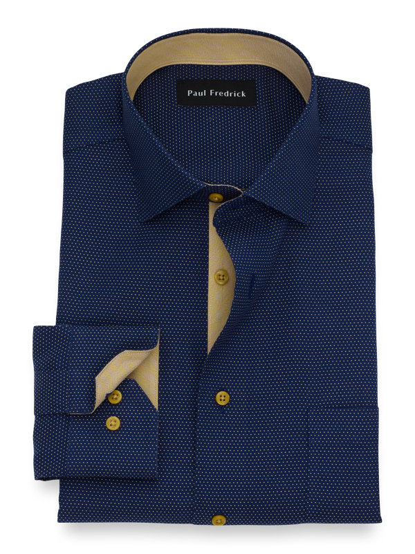 Slim Fit Non-Iron Cotton Dot Dress Shirt with Contrast Trim