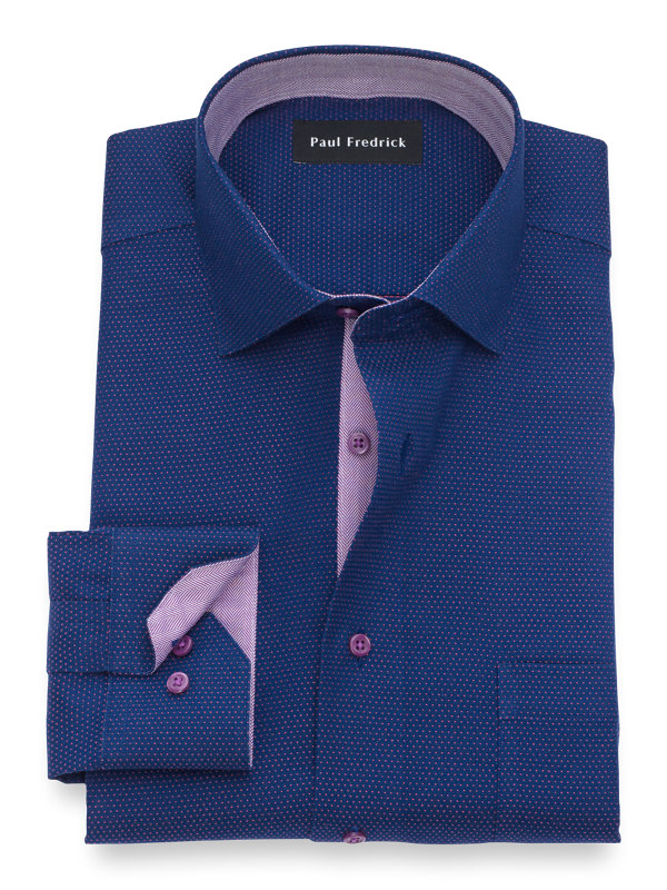 Slim Fit Non-Iron Cotton Dot Dress Shirt with Contrast Trim