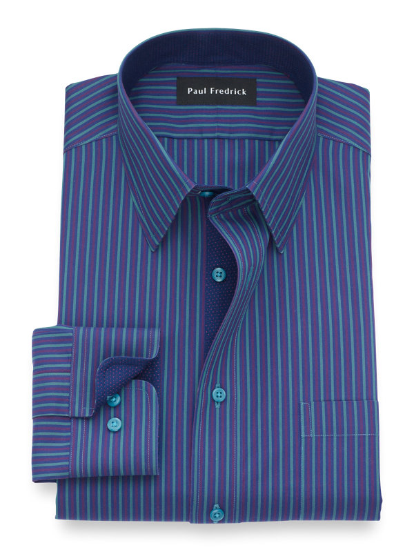Non-Iron Cotton Alternating Stripe Dress Shirt with Contrast Trim