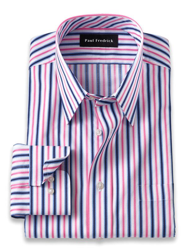 Slim Fit Pure Cotton Alternating Stripe Dress Shirt
