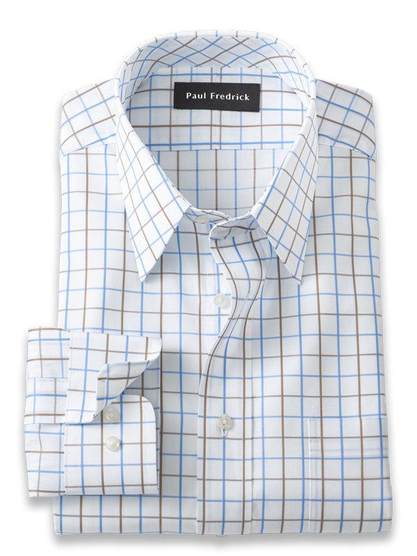Slim Fit Pure Cotton Satin Grid Dress Shirt