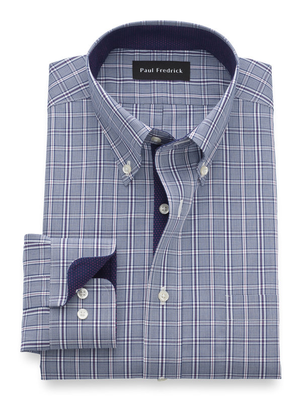 Tailored Fit Non-Iron Cotton Plaid Dress Shirt with Contrast Trim