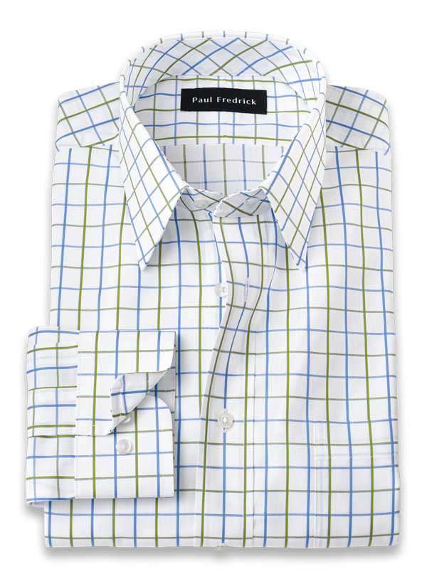 Pure Cotton Satin Grid Dress Shirt
