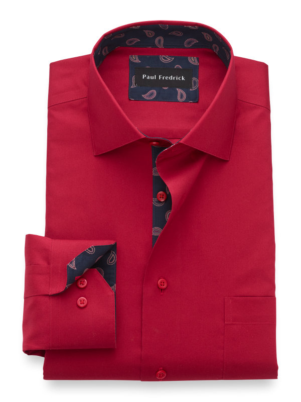 Non-Iron Cotton Solid Dress Shirt with Contrast Trim
