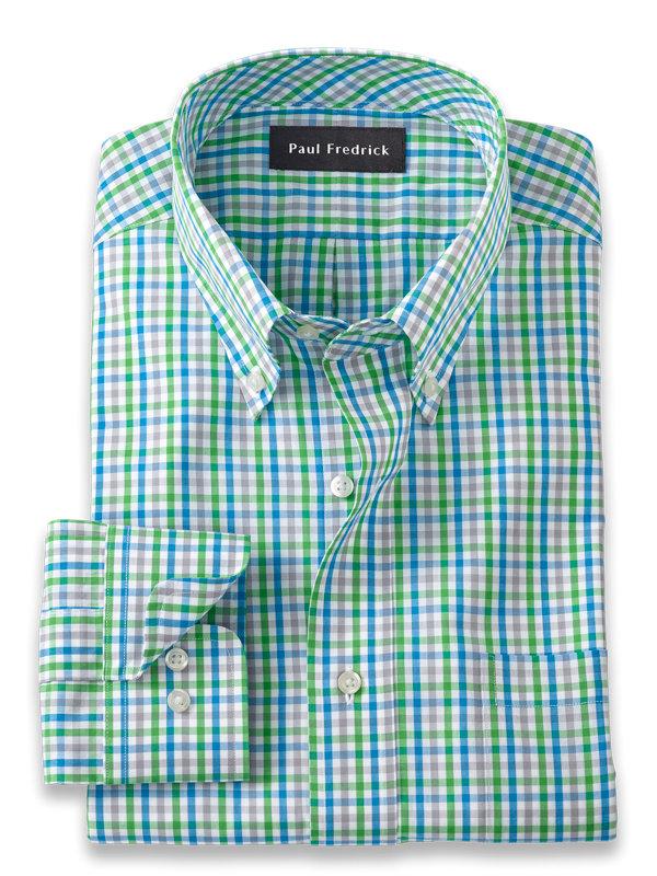 Slim Fit Pure Cotton Gingham Dress Shirt