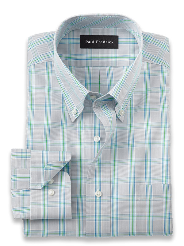 Pure Cotton Windowpane Dress Shirt