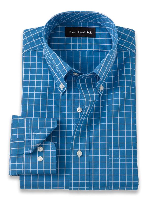 Slim Fit Pure Cotton Grid Dress Shirt