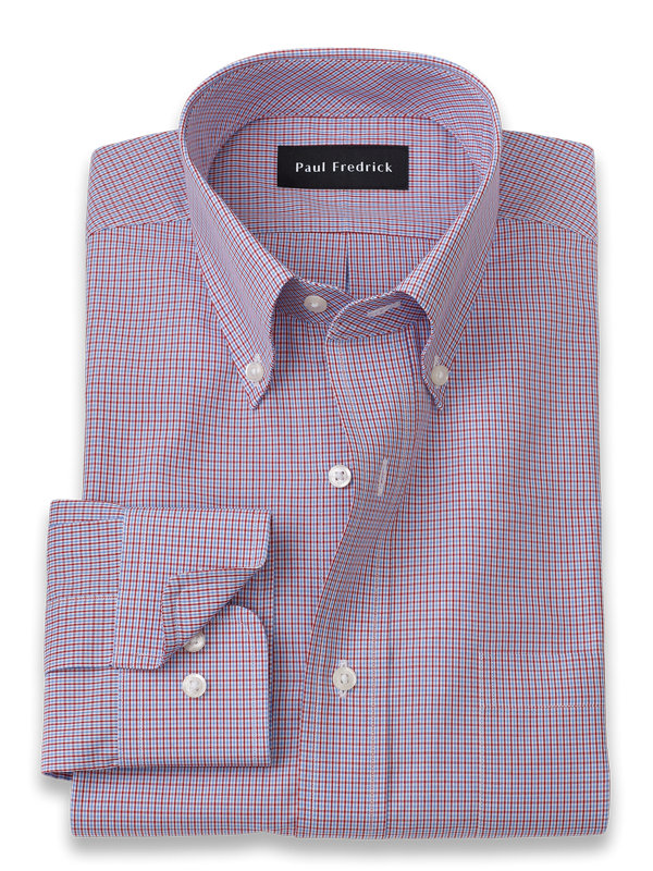 Slim Fit Pure Cotton Mini Check Dress Shirt