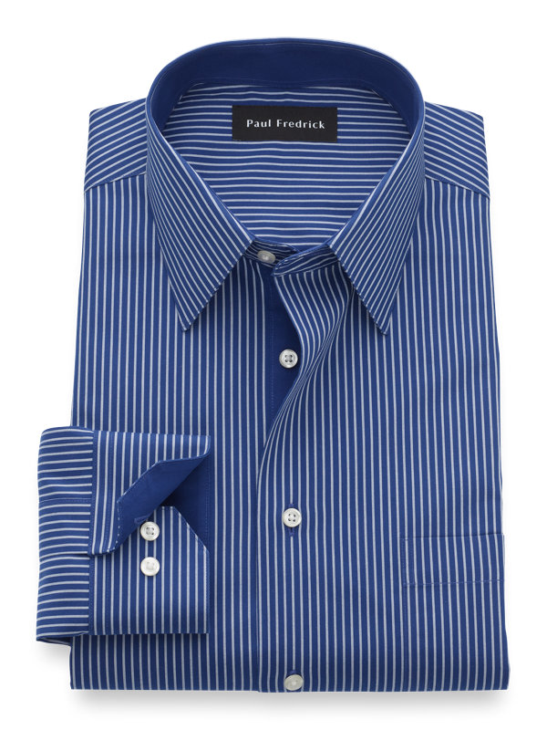Non-Iron Cotton Stripe Dress Shirt with Contrast Trim