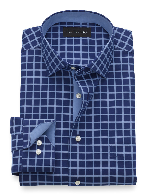Slim Fit Non-Iron Cotton Check Dress Shirt with Contrast Trim