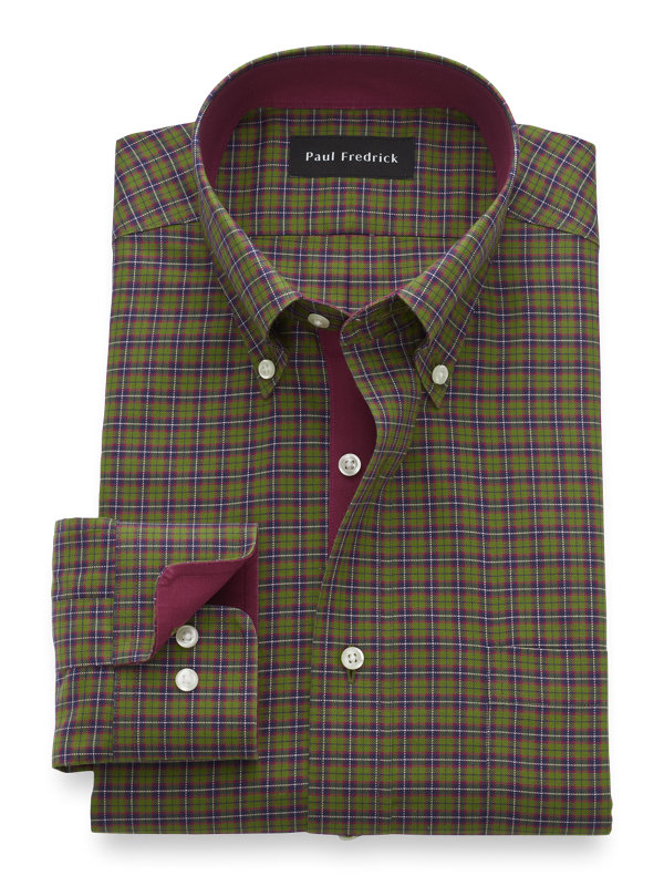 Slim Fit Non-Iron Cotton Tartan Dress Shirt with Contrast Trim