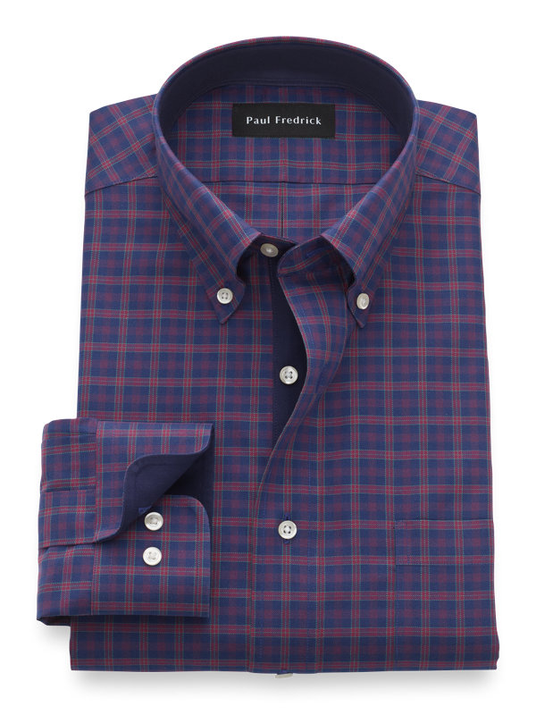 Tailored Fit Non-Iron Cotton Tartan Dress Shirt with Contrast Trim