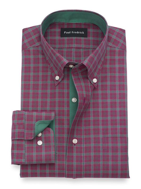 Tailored Fit Non-Iron Cotton Tartan Dress Shirt with Contrast Trim
