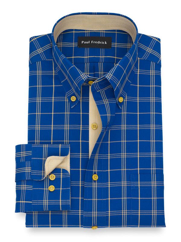 Non-Iron Cotton Windowpane Dress Shirt with Contrast Trim